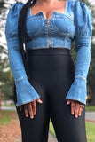 Denim Open Back Puff Sleeve Top