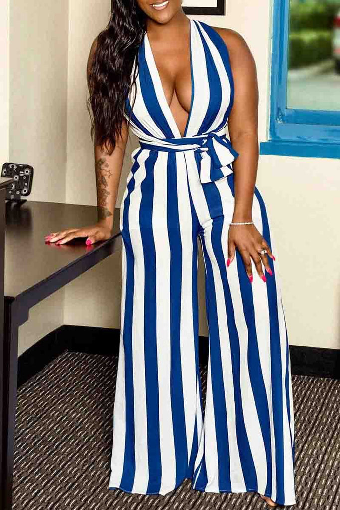 Stripe Print Deep V Neck Bandage Sleeveless Jumpsuit