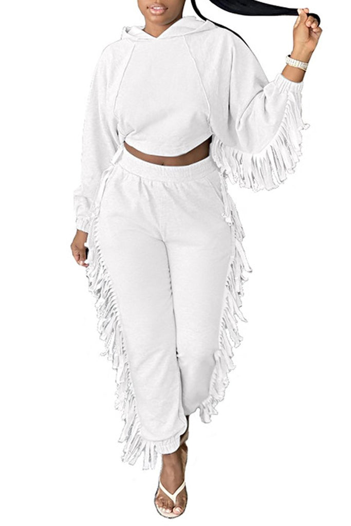 Plus Size Tassel Hooded Collar Top & Pants