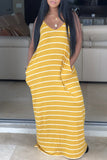 Stripe Print Open Back V-neck Sleeveless Maxi Dress