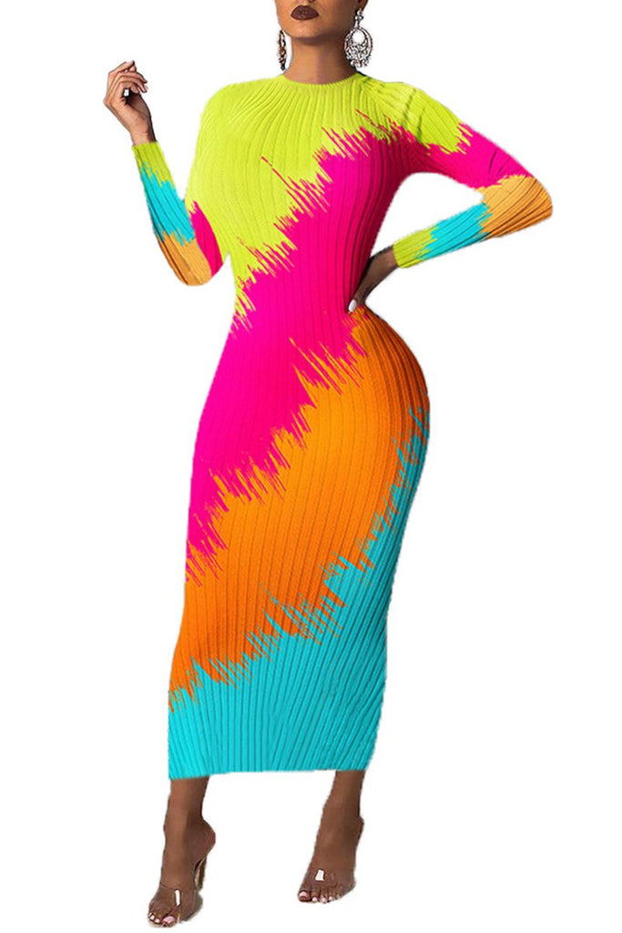 Colorful Patchwork Long Sleeve Dress