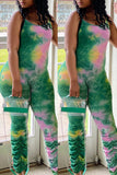 Tie Dye Wrinkled Colorful Sleeveless Jumpsuit