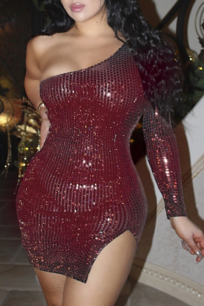 Sexy Side Slit One Sleeve Sequin Bodycon Mini Dress