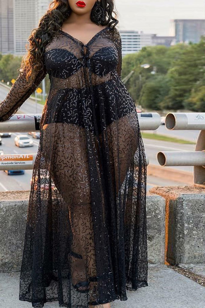 Solid See-through Mesh Long Sleeve Three Piece Maxi Dress