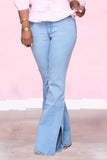 Slit High-elastic Plus Size High Waist Jeans