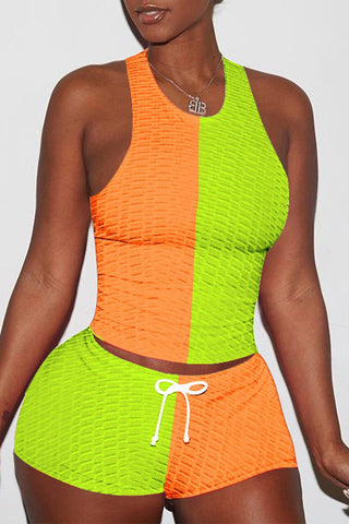 Color Spliced Lace Up Sleeveless Top & Shorts, whatwears  - buy with discount