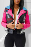 Rivet PU Belted Color Block Jacket