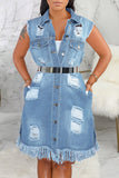 Plus Size Denim Hole Distressed Jacket