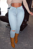 High-elastic Plus Size Hole Distressed Jeans