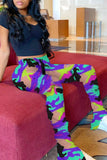 Wrinkled Camouflage Print High Waist Pants