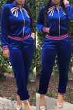 Embroidered Long Sleeve Casual Patchwork Two Piece Outfits