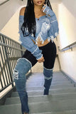 Tassel Hem Distressed Denim Jacket