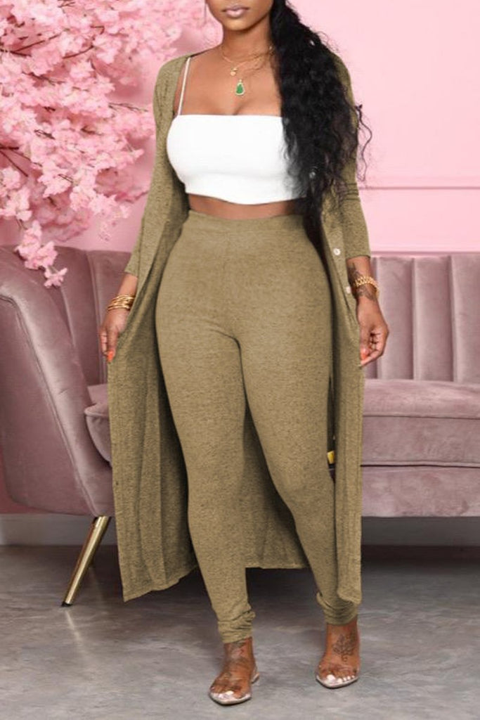Solid Color High Waist Cardigan & Pants