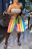 Rainbow Striped Plus Size Wide Leg Shorts