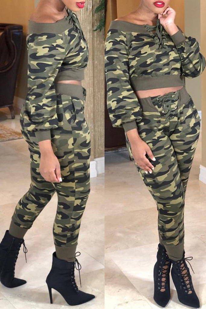 Camouflage Boat Neck Lace-up Top & Pants - WHATWEARS