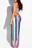 Off The Shoulder Digital Print Open Back Maxi Dress