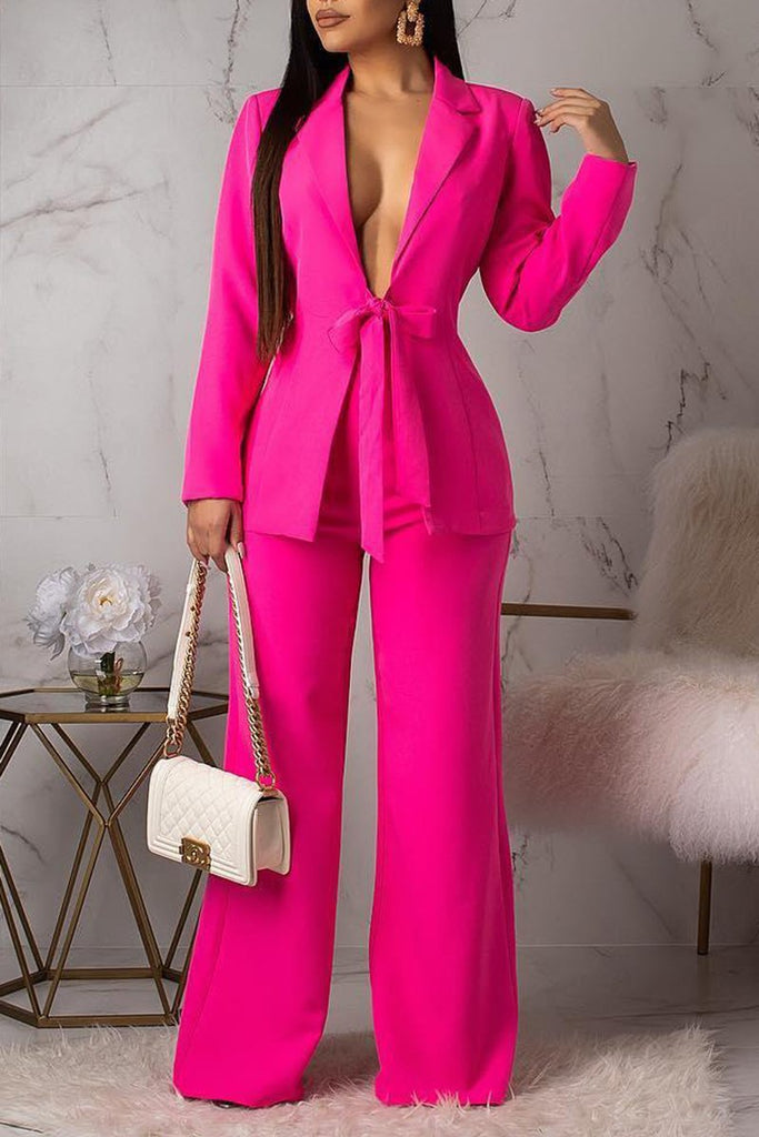 Deep V-Neck Bowknot OL Two Piece Sets