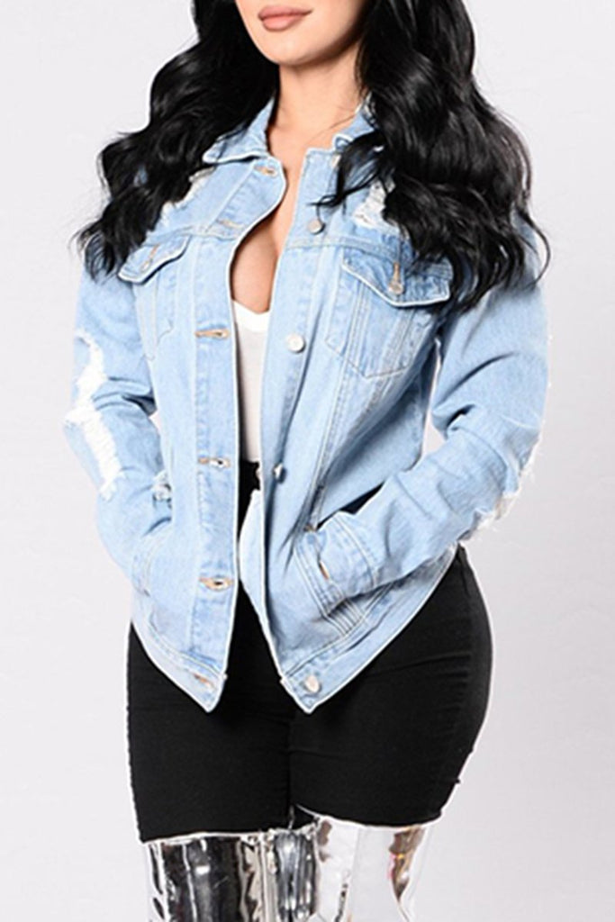Plus Size Distressed Denim Hole Jacket