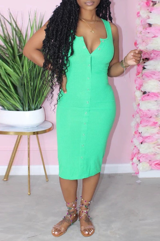 Rib Solid Color Button Plus Size Dress