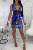 Mixed Color Sleeveless V-neck Zipper Sequin Mini Dress