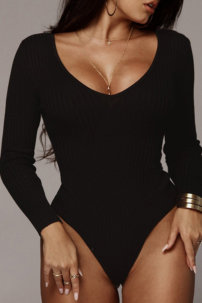Solid Color Sexy V-neck Rib Long Sleeve Romper