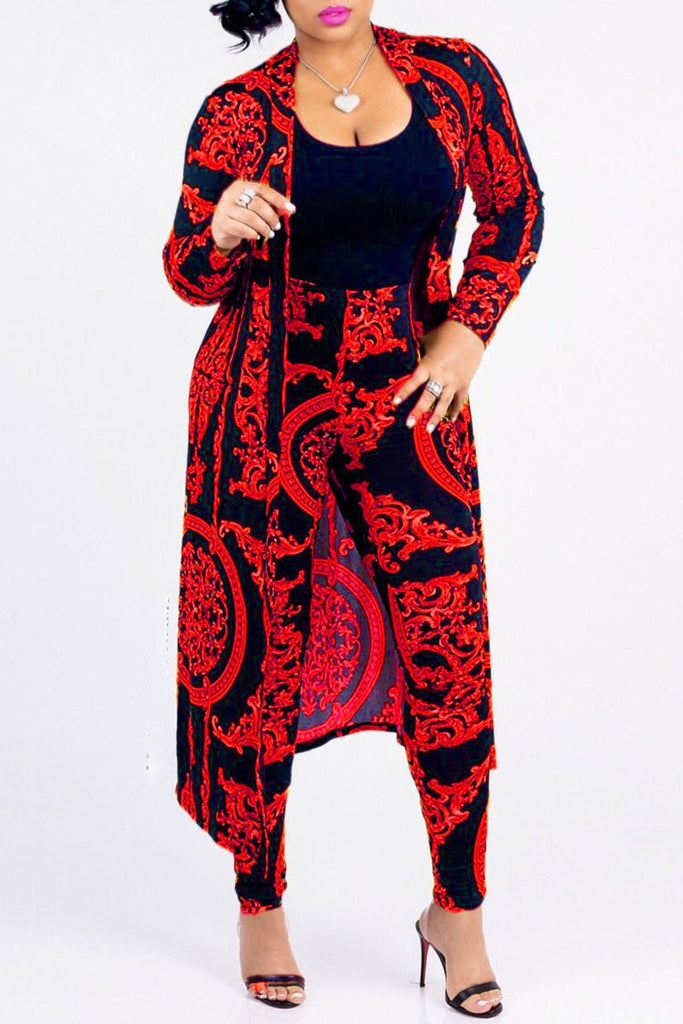 Plus Size Print Casual Two Piece Outfits