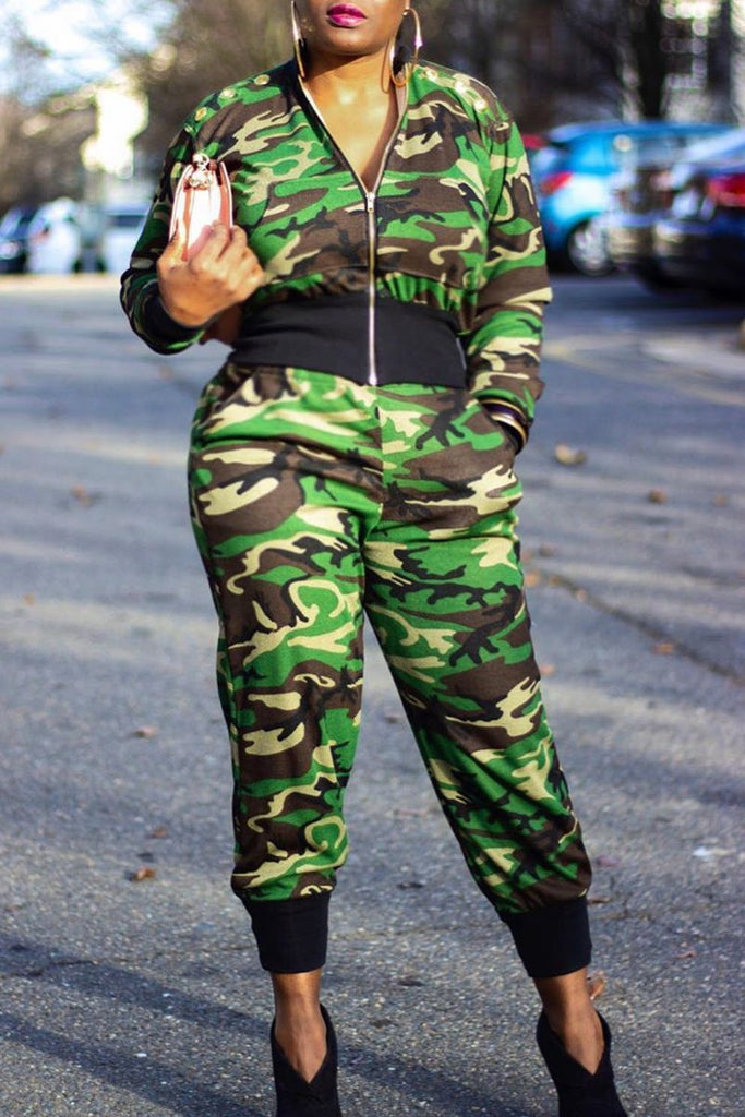 Camouflage Printed Zipper Top & Pants