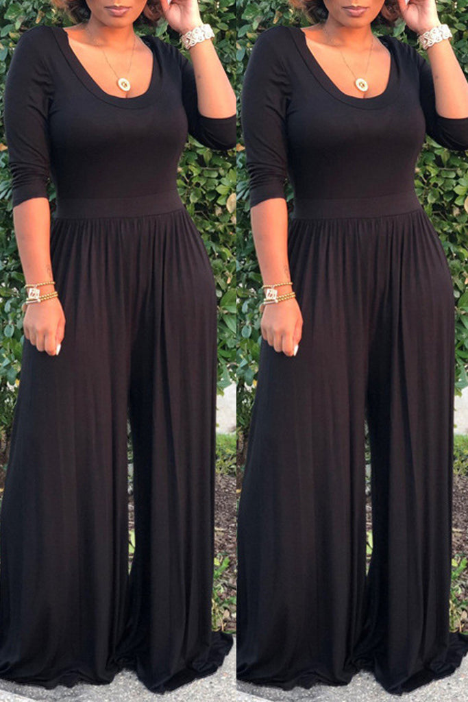 Casual Solid Scoop Neck Half Sleeve Jumpsuit