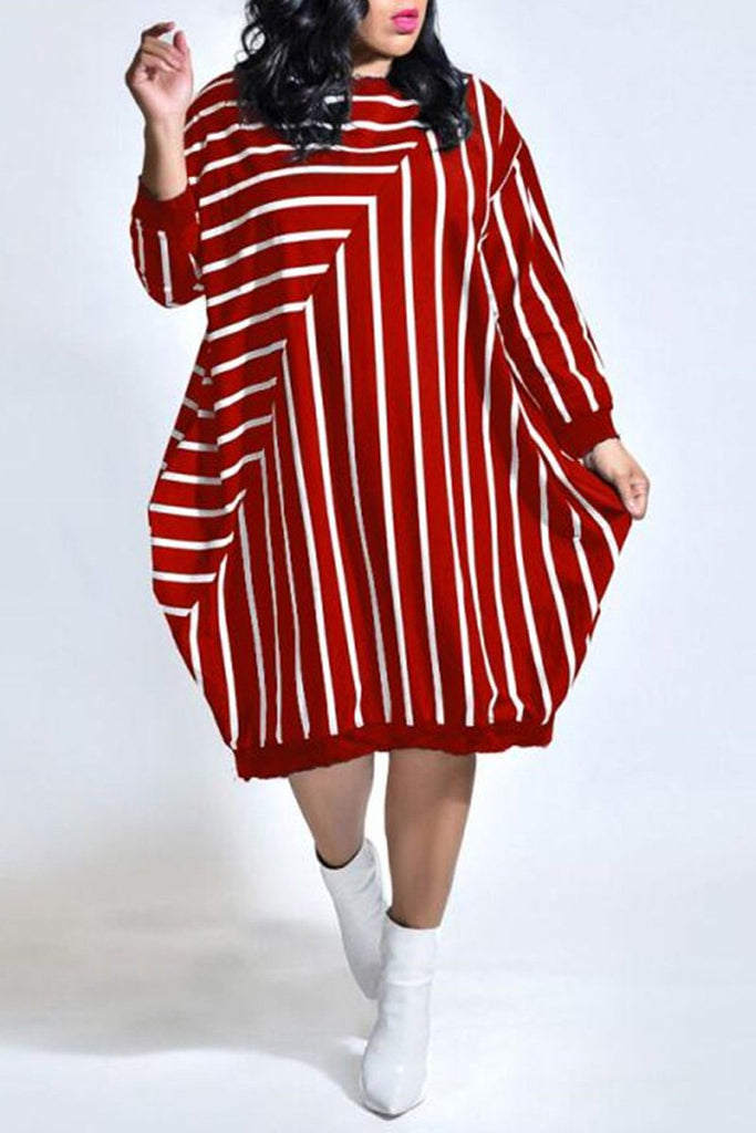 Plus Size Stripe Patchwork Pocket Dress