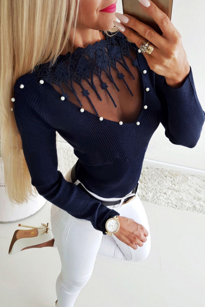 Hollow Out Solid Color Casual Bodycon Top