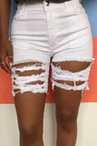 Hole Distressed Denim High Waist Shorts