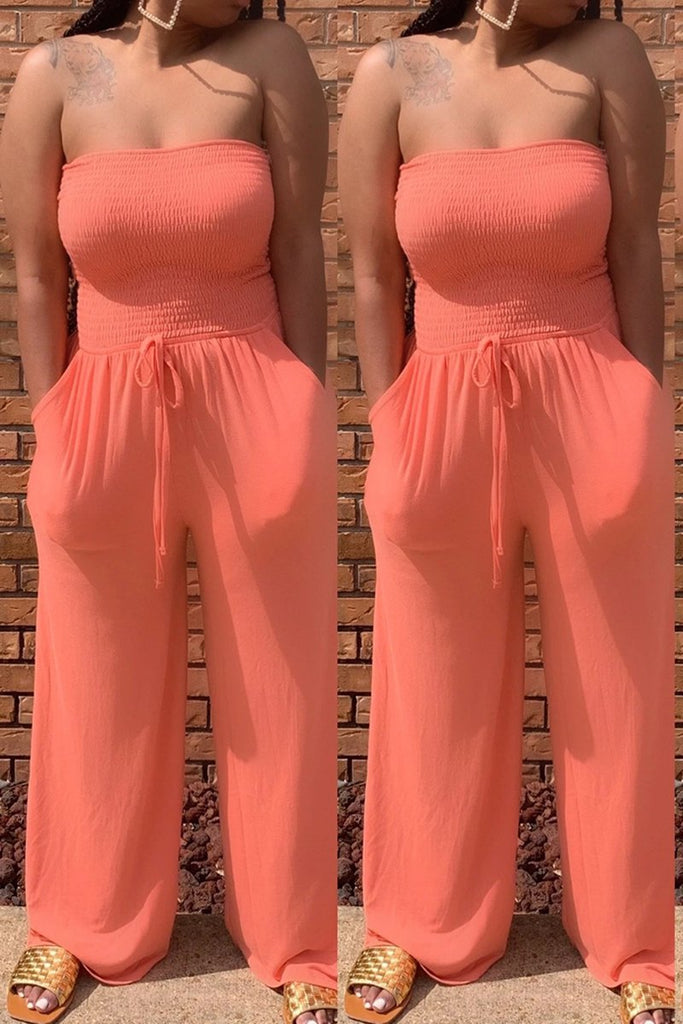 Strapless Pocket Belted Wide Leg Jumpsuit