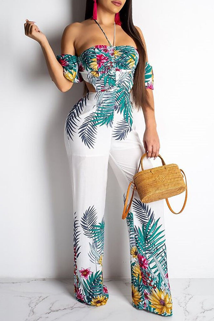 Back Bandage Digital Print Halter Short Sleeve Jumpsuit