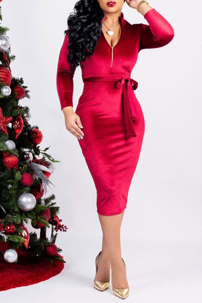 Sexy Solid Color V-neck Midi Dress With Belt