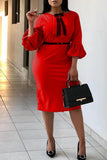 Solid Color Lantern Sleeve OL Midi Dress With Bowknot