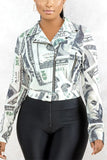 Plus Size Tie Dye Dollar Printing Jacket