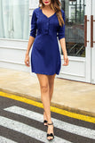 Plus Size V-Neck Button Half Sleeve Solid Color Shirt Dress