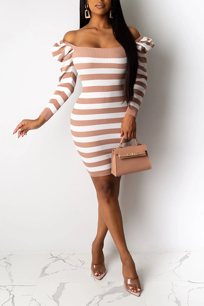 Rib Striped Puff Sleeve Casual Dress