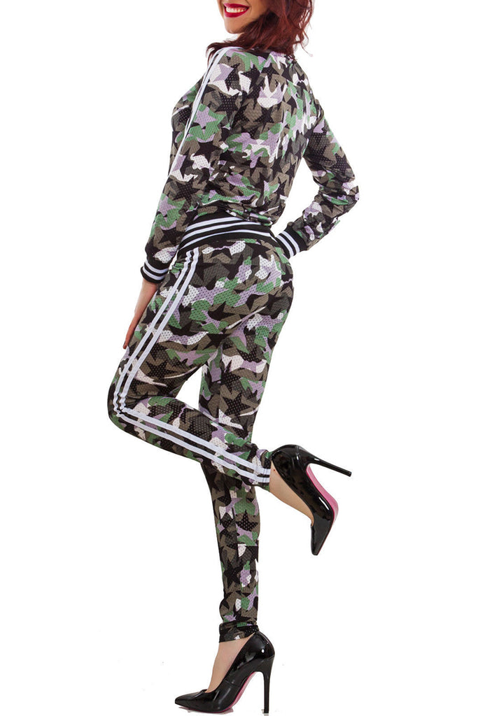 Camouflage Print Stripe Zipper Two Piece Outfits - WHATWEARS