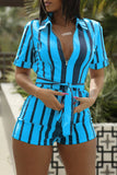Striped Plus Size Zipper Shirt Romper With Belt