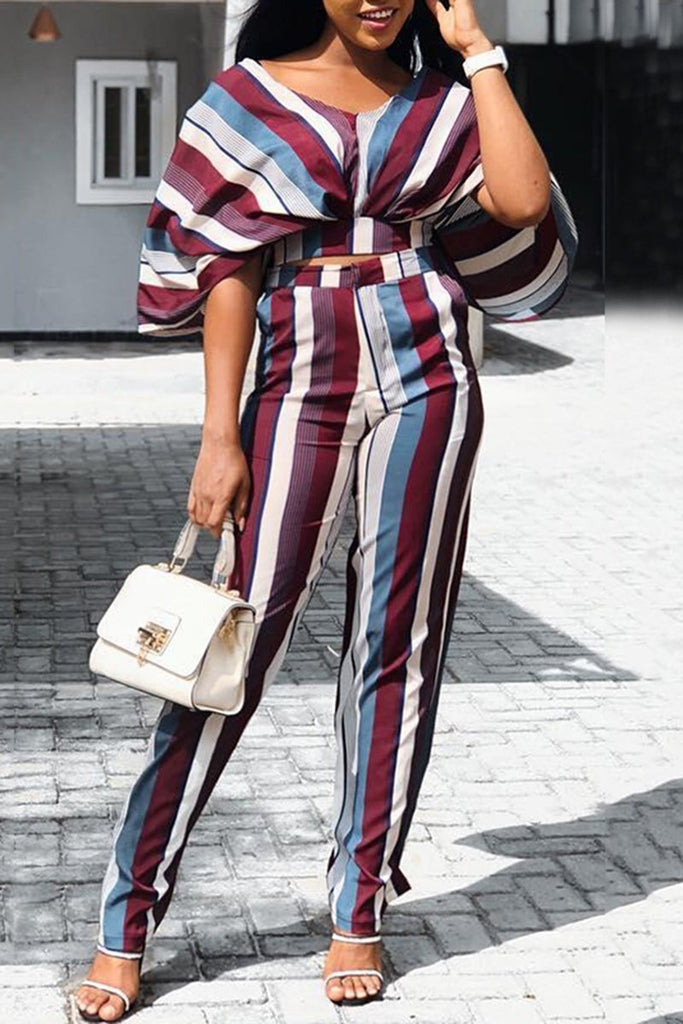 Batwing Sleeve Striped Top & Wide Leg Pants