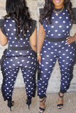Ruffle Polka Dot Fashion Casual Jumpsuit