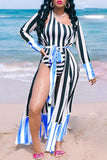 Stripe Print One Sleeve One Piece Swimwear & Swim Cover Up
