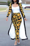 Casual Print Long Sleeve Cloak & Pants