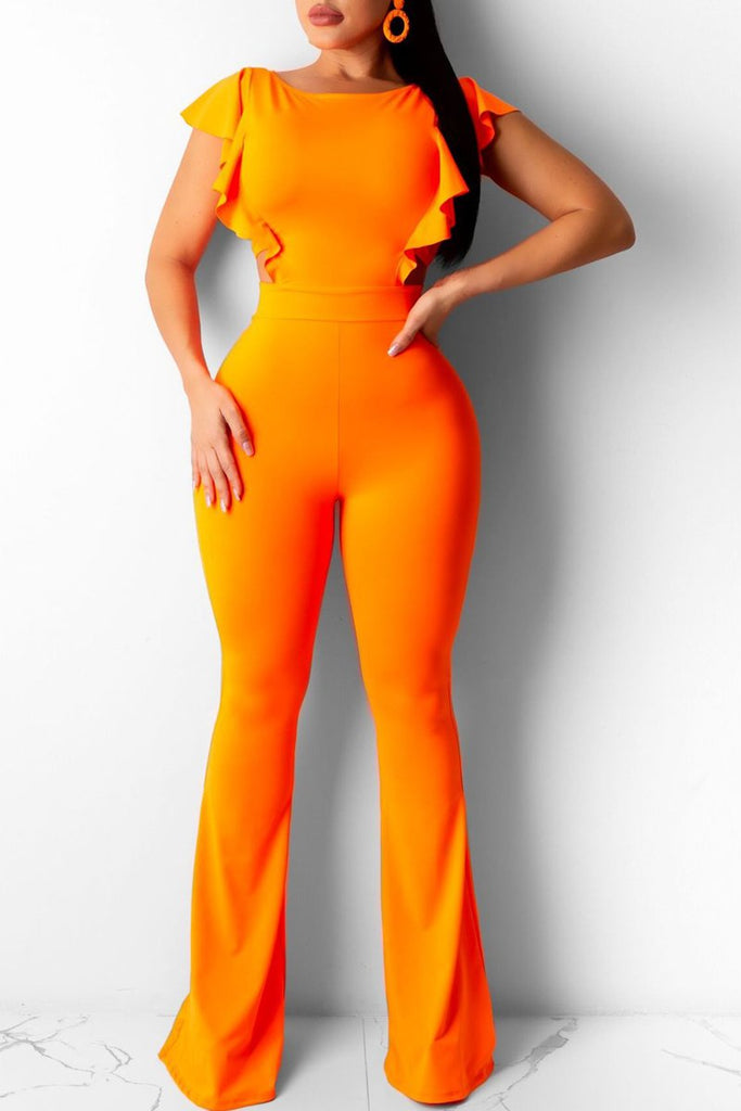 Ruffle Sleeve Open Back Solid Jumpsuit