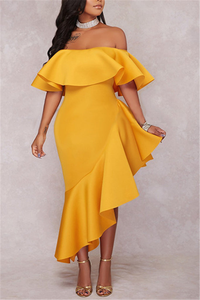 Falbala Off the Shoulder Dress - WHATWEARS