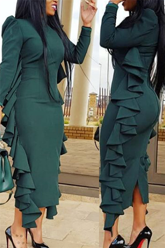 Ruffled Long Sleeve Back Slit Bodycon Dress – WHATWEARS 429d7ddd8