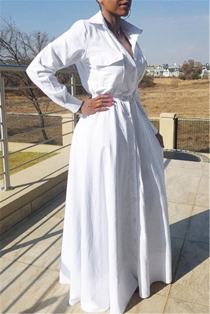 White Shirt Maxi Dress