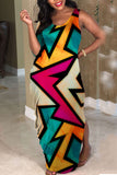 Star Printed Irregular Sleeve Mixed Color Maxi Dress
