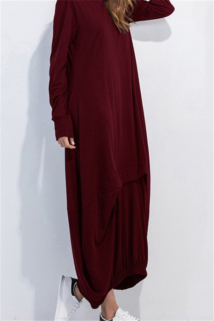 7508a852335c Loose Smock Gathered Front Slouch Maxi Dress